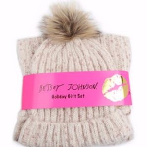 Betsey Johnson Scarf and Beanie Set